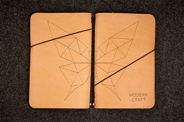 Engrave Goods Custom Engraved Leather Slim Notebook for Modern Craft