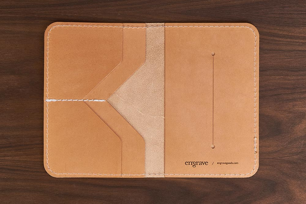 leather travel notebook wallet inside