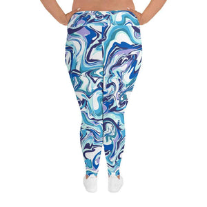 Marble Blue Plus Size Leggings | Sports Leggings | Leggings | Pants