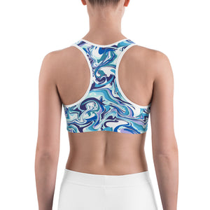 Marble Blue Sports Bra - Rosemary's Fitness Store