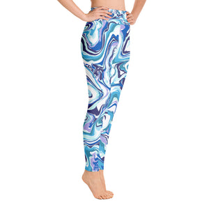 Marble Blue Yoga Leggings - Rosemary's Fitness Store