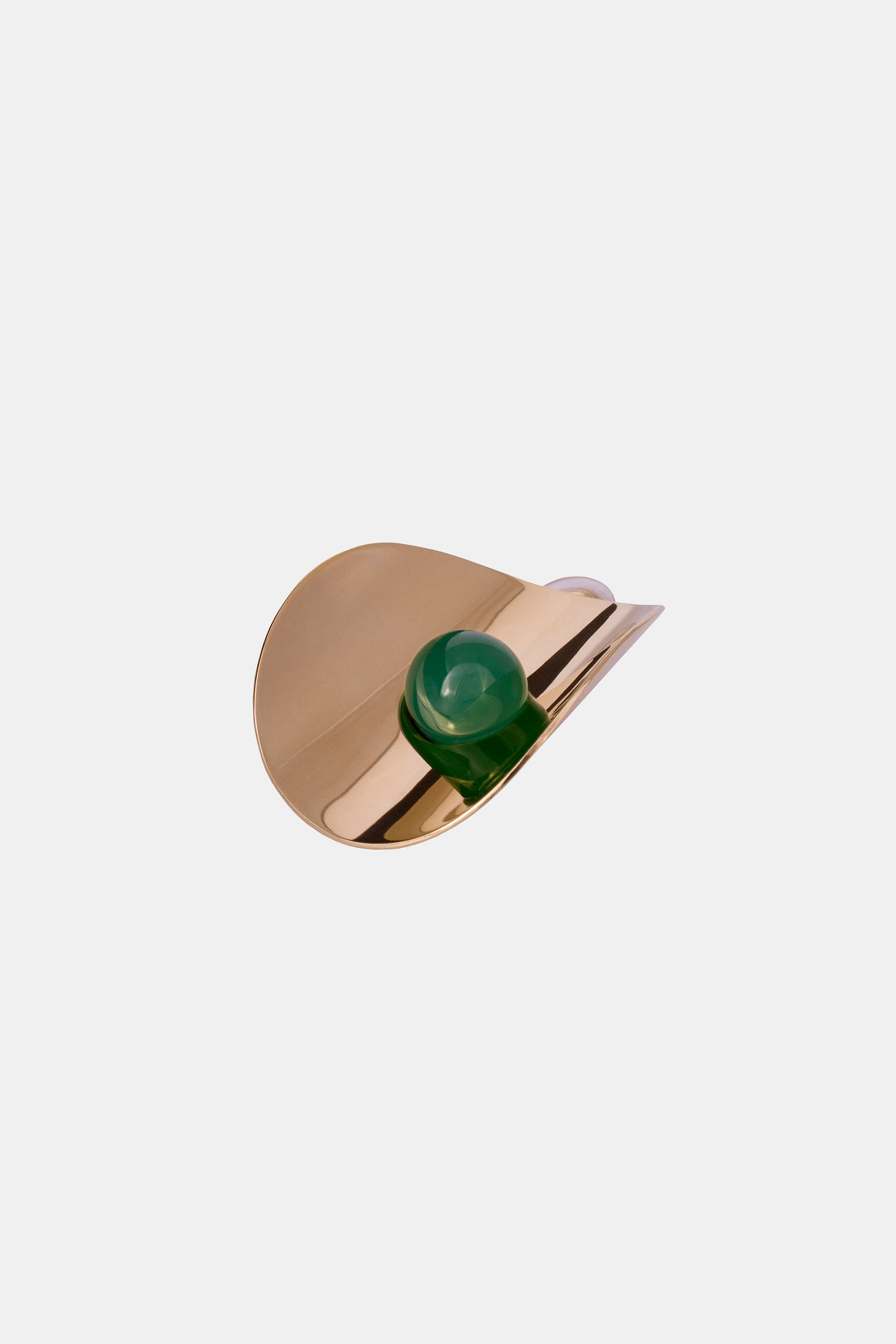 Yellow gold plated statement earring setting a green agate sphere made in Germany
