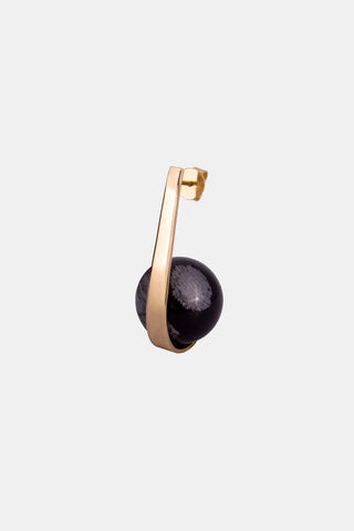 FRUIT Earring, yellow gold & obsidian