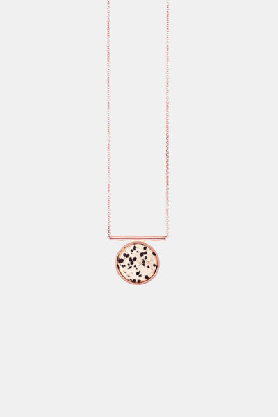Rose gold plated necklace with round pendant setting a dalmatian jasper plate made in Germany