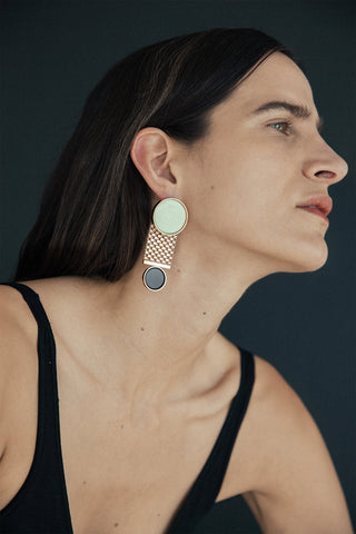 CHAMP Earring, rose gold, chrysoprase & onyx