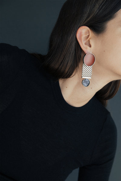 CHAMP Earring, white gold, agate & obsidian