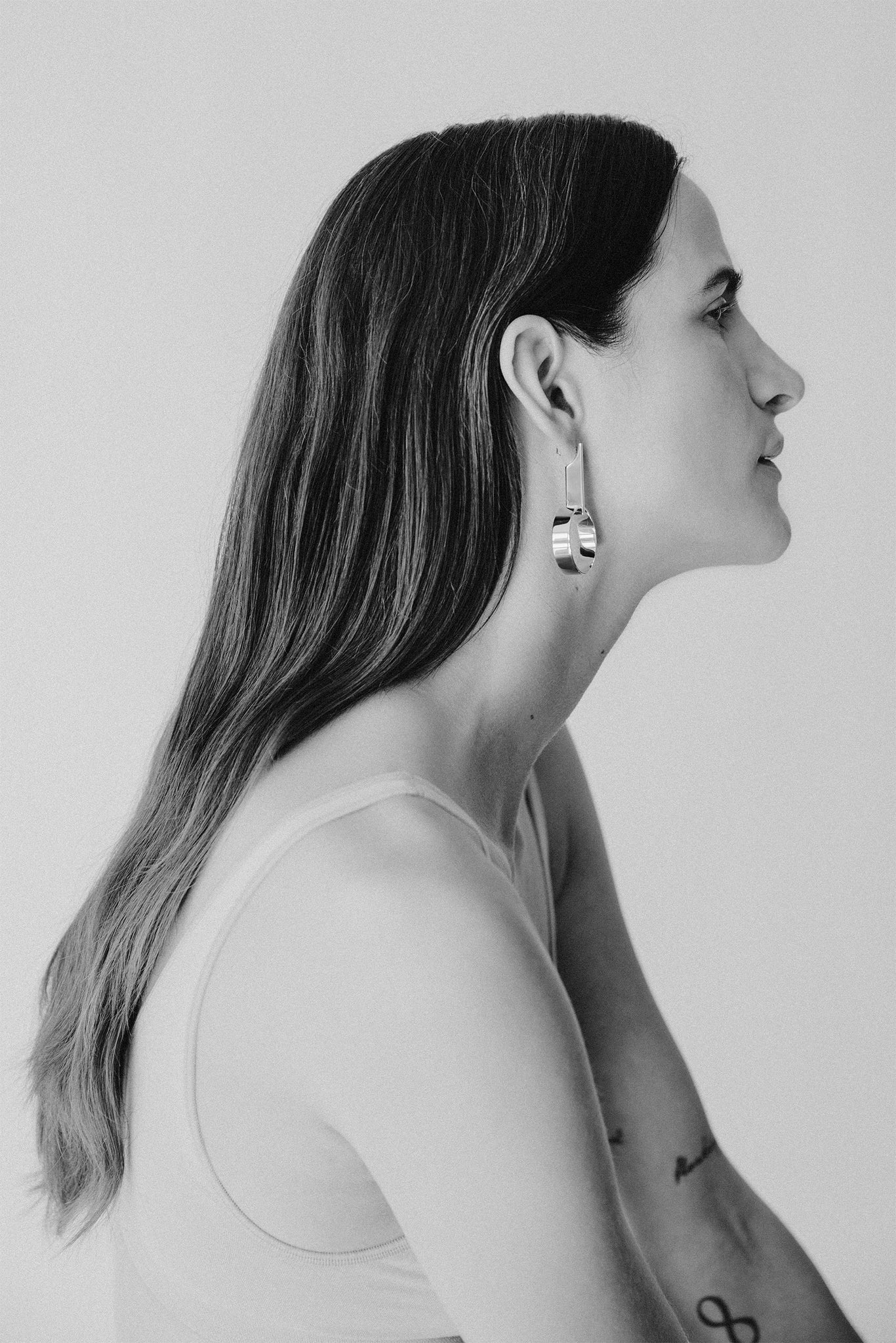 White gold plated minimalistic statement earrings made in Germany