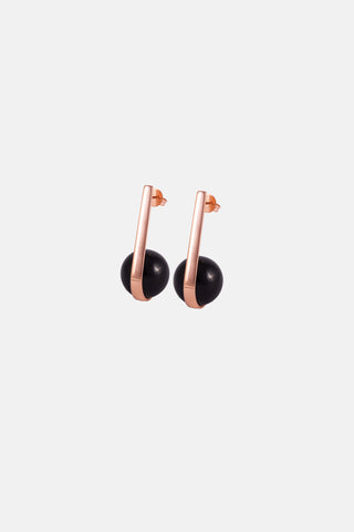 FRUIT Earrings, rose gold & onyx