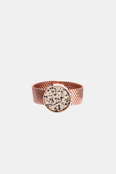 Delicate rose gold plated bracelet that looks like a watch with dalmatian Jasper made in Germany