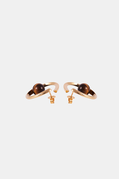 SURF Earrings, yellow gold & tigers eye