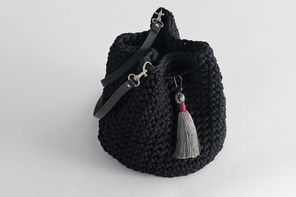 Crochet Kit Black Bucket Bag Do it Yourself