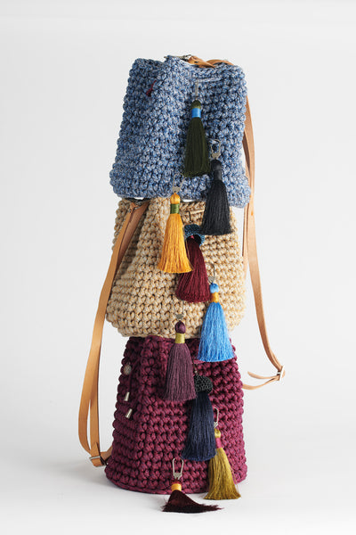 Crochet Kit Blue Jeans Bucket Bag Do it Yourself  comes in four colors