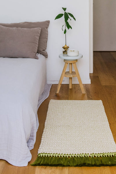 Cream Green Bedside Rug