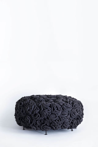 Dark Grey Black Elements Mini Pouf