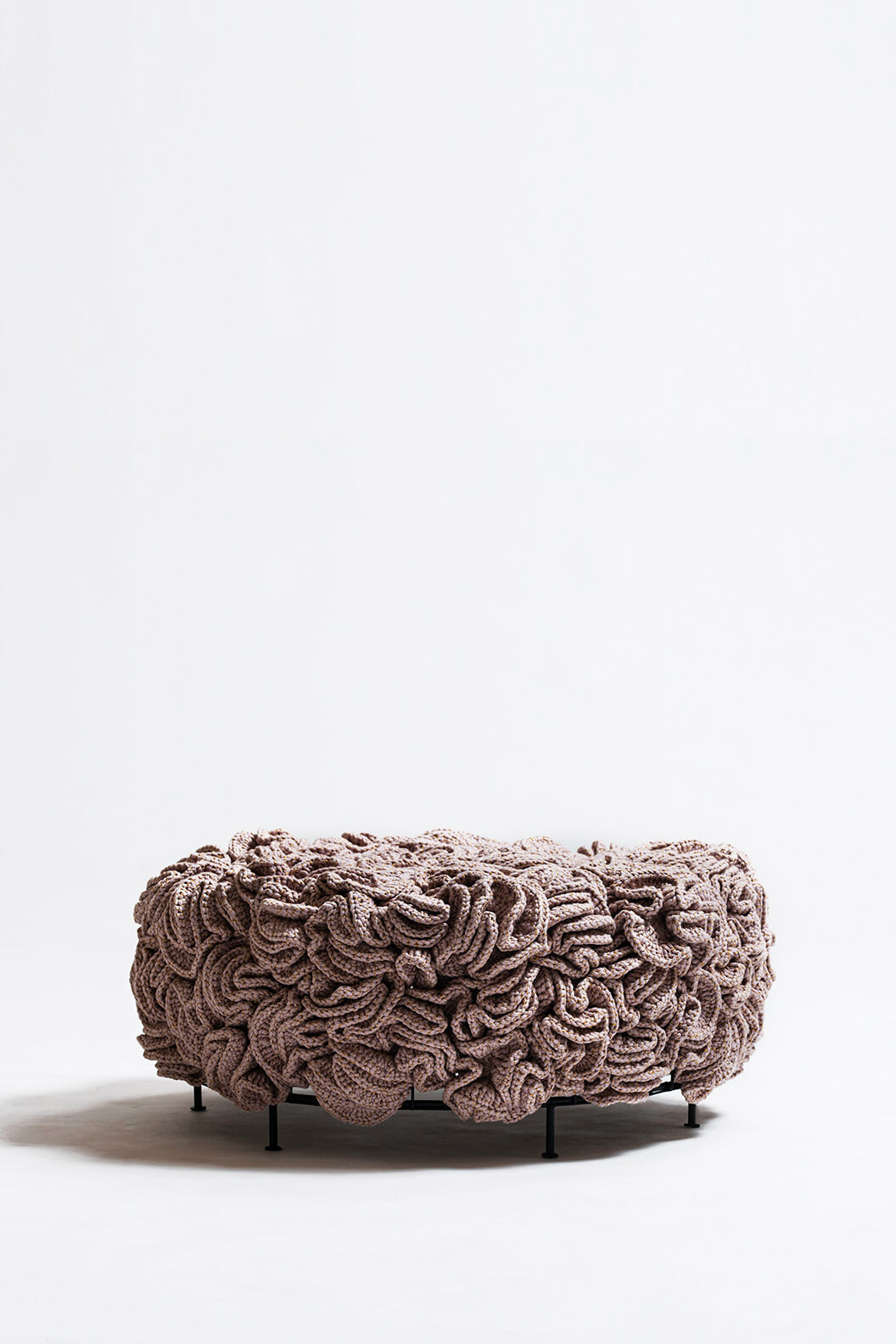 Pink Gold Elements Mini Pouf