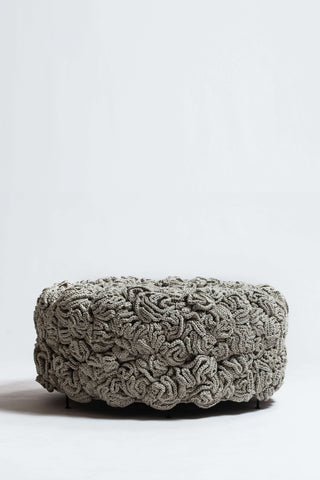 Cream Green Large Elements Pouf - LAST ONE