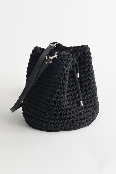 Handmade Black Bucket Bag