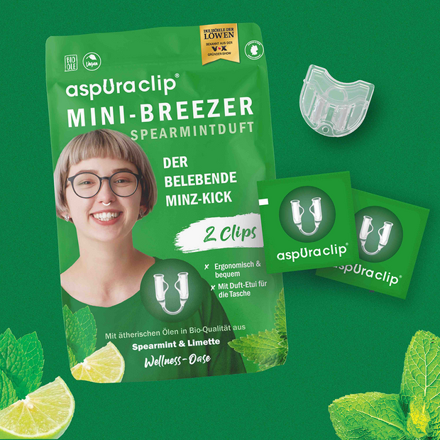 aspUraclip MINI-BREEZER SPEARMINTDUFT Multi-Box (20 Clips)