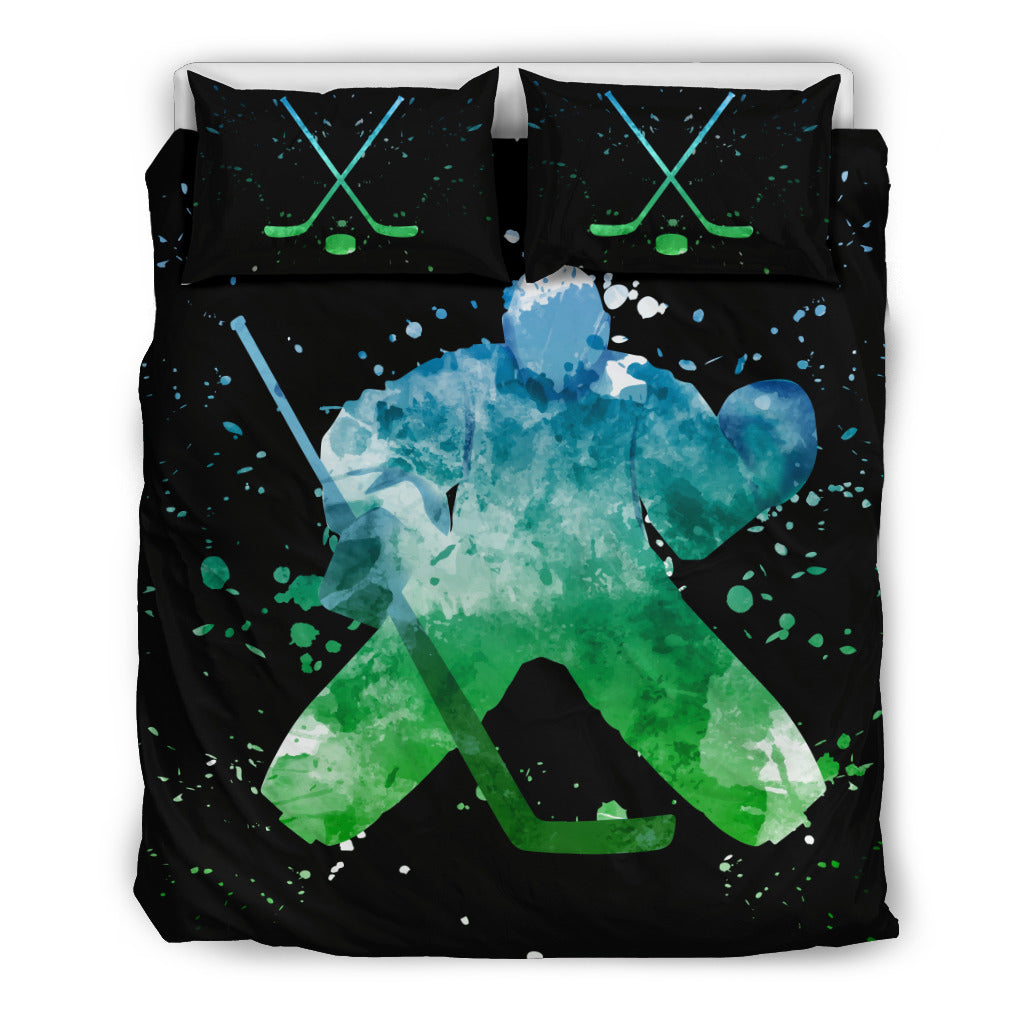 Hockey Watercolor Bedding Set