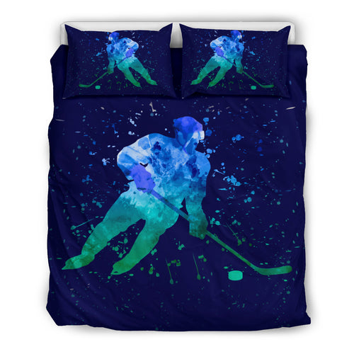 Hockey Blue Watercolor Bedding Set