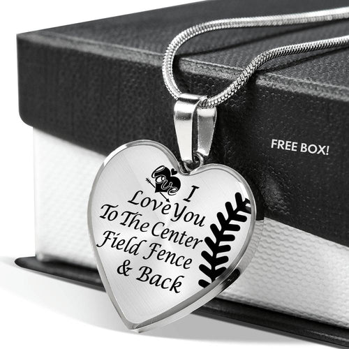 Softball Lovers Heart Necklace