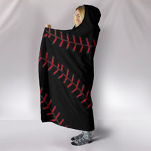 Load image into Gallery viewer, Black Baseball Hooded Blanket
