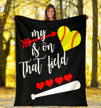 Load image into Gallery viewer, My Heart Is On That Field Softball Blanket