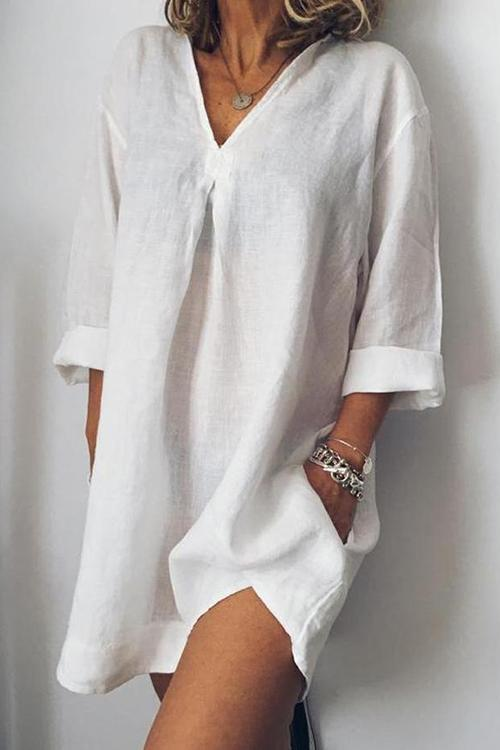 Pockets V Neck Loose Mini Dress