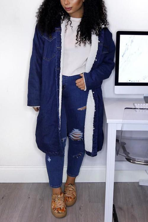 Fuzzy Pockets Denim Long Coat