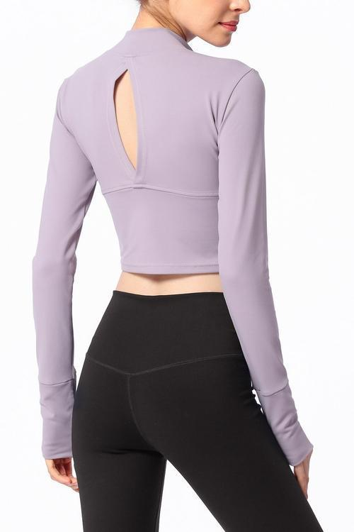 Cut Out Back Long Sleeve Crop Top