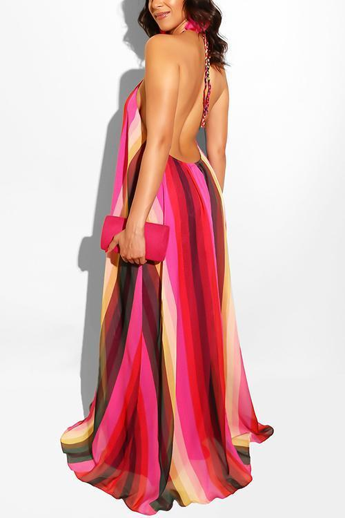 Print Halter Backless Maxi Dress