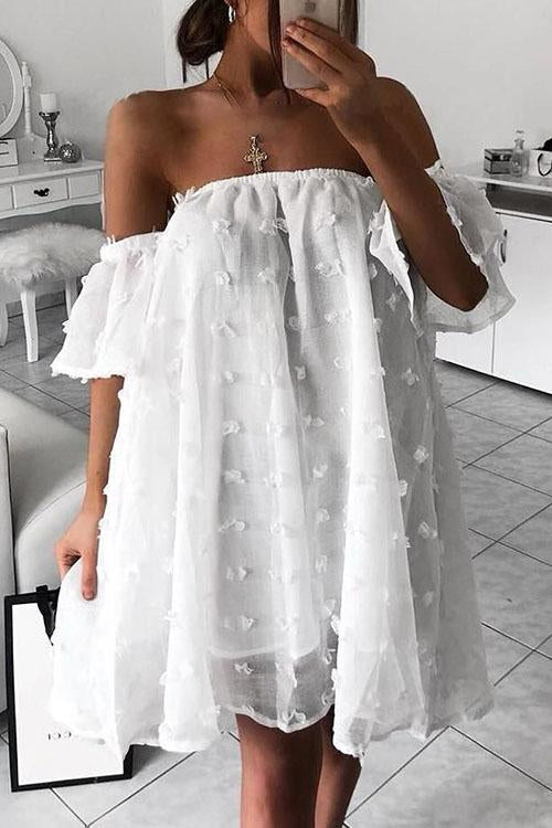 Dot Off Shoulder Mini Dress