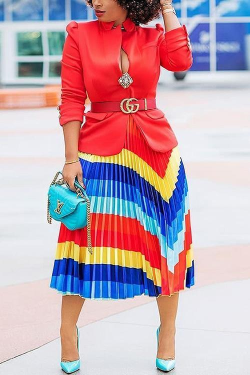 Color Block Pleated Skirts