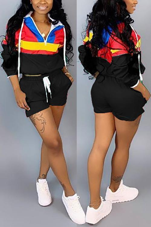 Color Block Hoodie Shorts Set