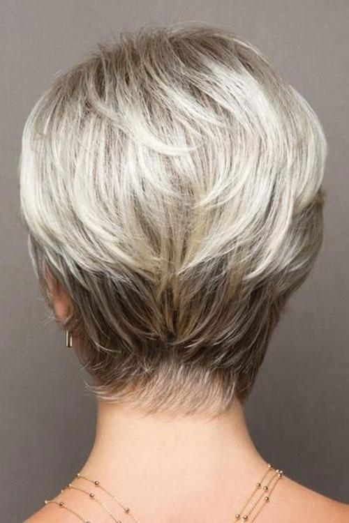 Straight Cropped Grey Synthetic Wigs