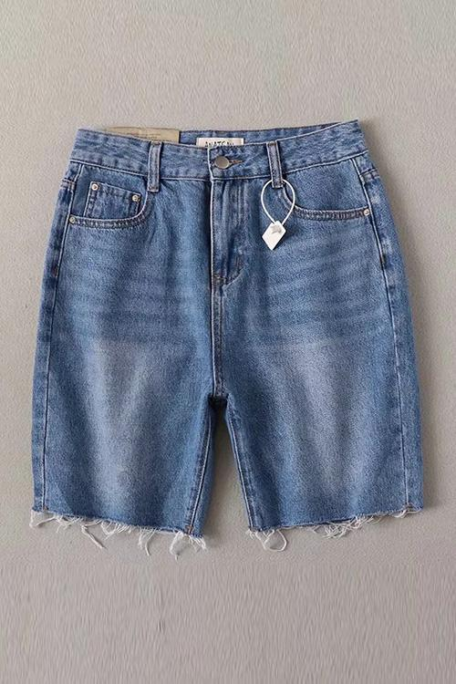 High Waist Denim Mid Shorts