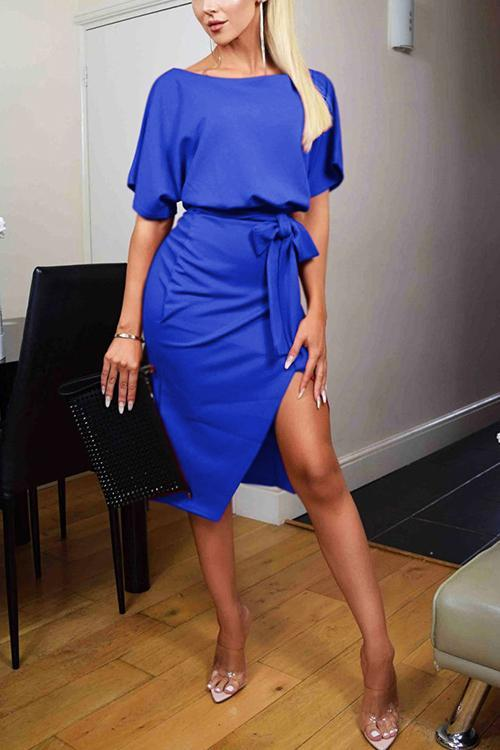 Slit O Neck Belted Dress