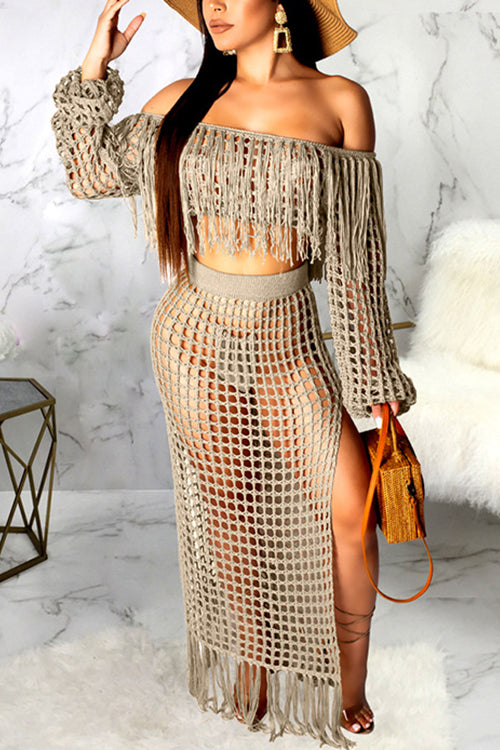 Off The Shoulder Tassel  Skirts Set