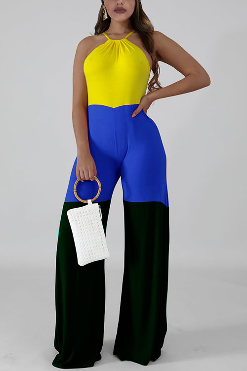 Color Block Halter Neck Jumpsuit