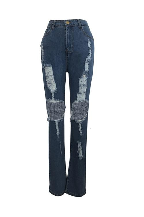 Distressed Hollow Out Jeans