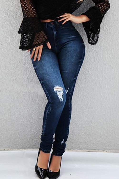 Button High Waist Skinny Jeans