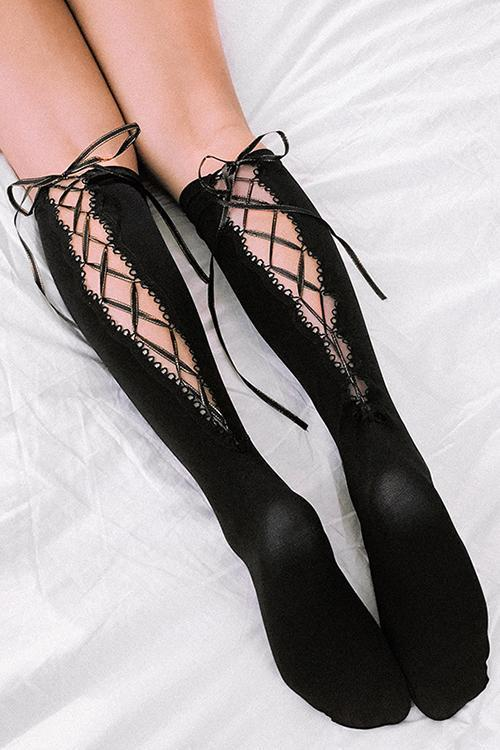 Cross Straps Hollow Mid Stocking