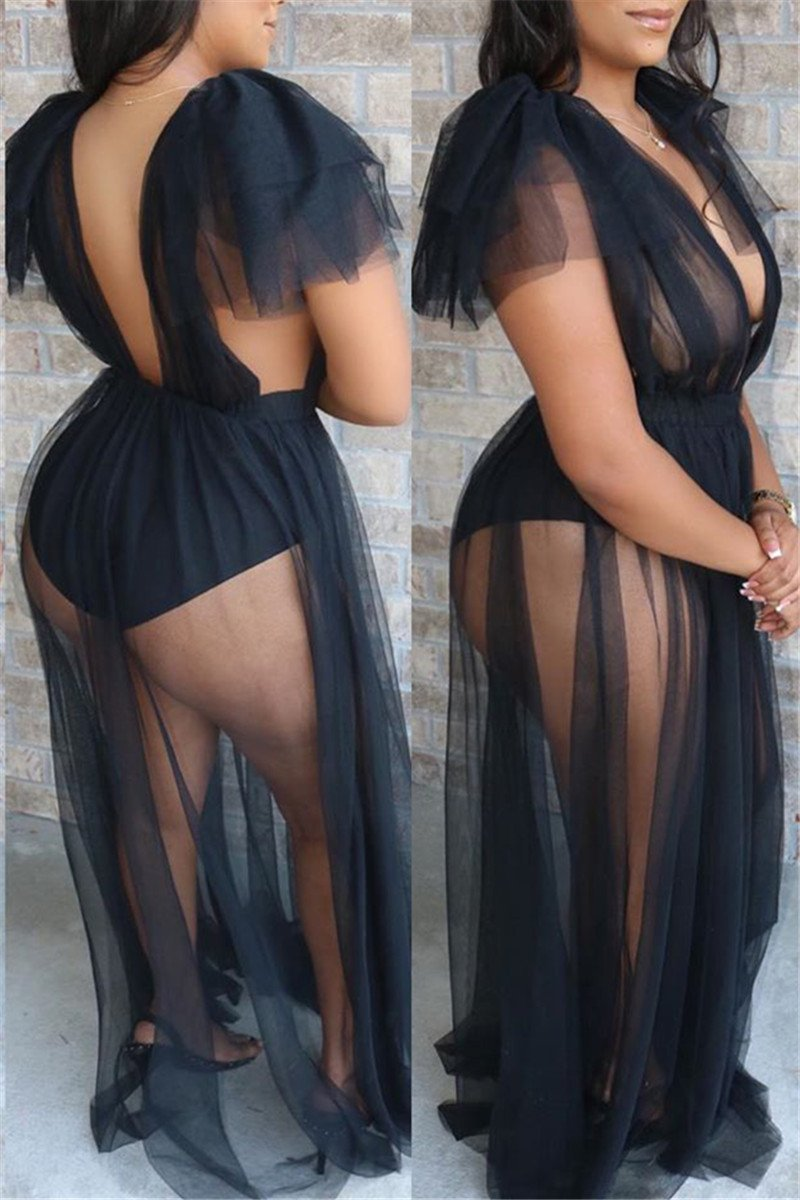 Deep V Neck See Through Mesh Dress