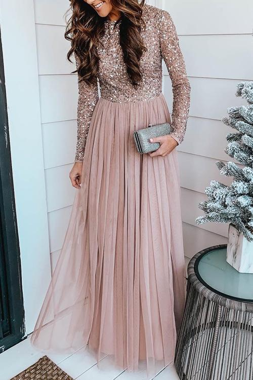 Sparkling Long Sleeve Maxi Dress