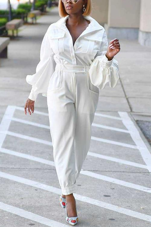 Turndown Collar Lantern Sleeve Jumpsuit