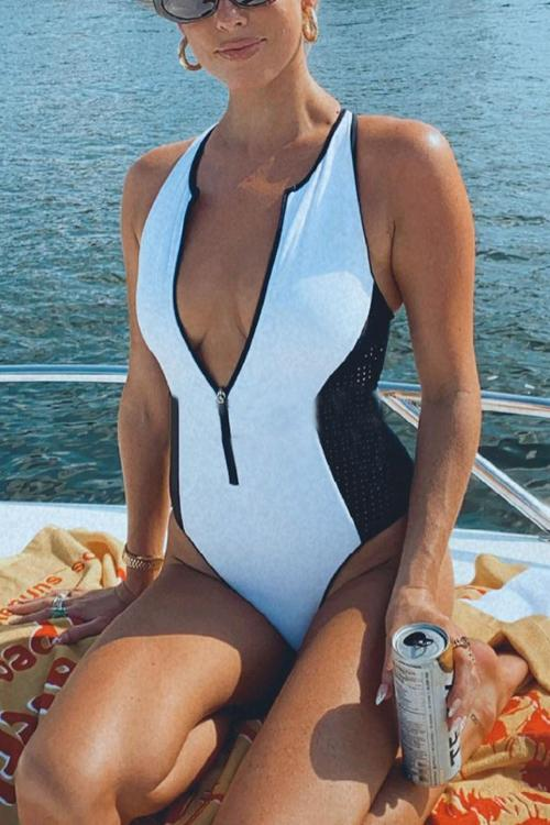 Zipper Mesh Patchwork One Piece Swimwear
