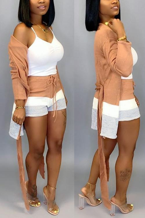Color Block Striped Belted Cardigan Shorts Set