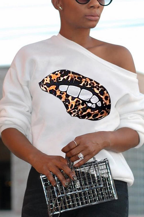 One Shoulder Lips Long Sleeve Top