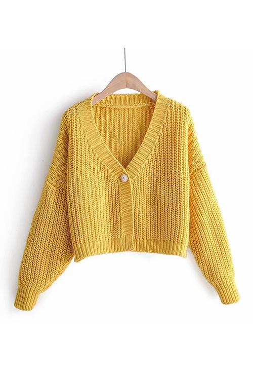 Button Crop Cardigan