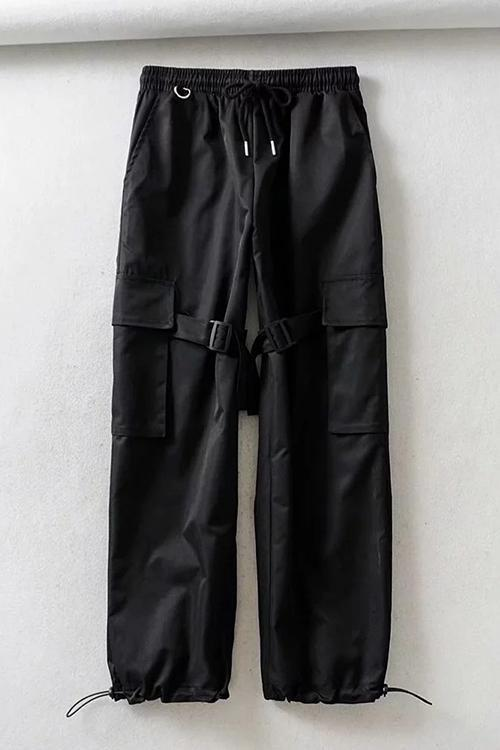 Buckle Pockets Drawstring Cargo Pants